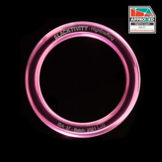 It's time for pink HighlineRings! Get them now on slacktivity.com. All our leashes are certified by @slackline_international . Each single leash ring is load-tested to 6kN (this leaves tiny marks on the inner side of the ring - these are proof that the ring has been individually tested). In future, all TESTED and certified leash rings are pink. We also have some green leash rings on stock that are tested - if you want to have a tested green leash ring, please let us know. The other green rings that are available on the page are normal, untested aluminium rings. #gearporn #alpinegear #mountainequipment #slackline #highline #thinkpink #slacklife
