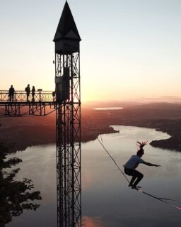 What an epic new highline! This week the Hammetschwand lift, a scenic 152m high elevator, got rigged. Project team: @timodermatt @arne_lauwers @budi_online & @samuelvolery  Slackline: 70m long, rigged on SLACKTIVITY - LSDTube. With 700m exposure over the Lake Lucerne.  Find an epic video on the Slacktivity Youtube Channel.  #hammetschwand #hammetschwandlift #bürgenstock #nidwalden #highline #slacklife #slackline #sunset #lakelucerne #inlovewithswitzerland #lucernetourism #mylucerne #myswitzerland #lucerne #schweiztourismus