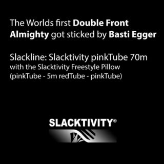 THE DOUBLE ALMIGHTY!! Just wow... @sebastian.egr has sticked it. On a 70m pinkTube with the Slacktivity Freestyle Pillow (5m redTube sandwiched into pinkTube). Astonishingly it took Basti only 1 session of 100 minutes to stick that trick. After 10 tries you knew that it was just a matter of time as he already had some overshoots and sometimes landed on the line but got kicked off. Most of us normal highliners would be happy to even stick a single almighty one day... Well, what's next, Basti? We're super curious what new tricks you are coming up with in future, it's really fun to watch your fast progress! #freestylesports #doubleflip #highline #slacklife #slackline #slacktivity #spintowin #toehook #bodycontrol #balance